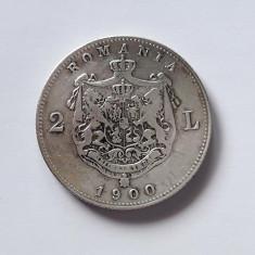 ROMANIA - 2 Lei  1900  Argint . Moneda rara in aceasta stare !
