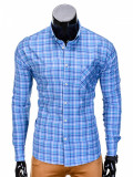 Camasa pentru barbati albastru in carouri mari slim fit elastica casual cu guler buzunar piept k390