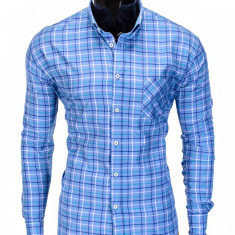 Camasa pentru barbati, albastru, in carouri mari, slim fit, elastica, casual, cu guler, buzunar piept - k390