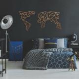Decoratiune pentru perete, Ocean, metal 100 procente, 120 x 58 cm, 874OCN1060, Maro