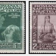 1934 - Saptamana fructelor, serie nestampilata cu sarniere