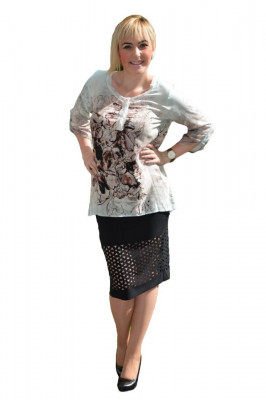Bluza rafinata, croiala moderna si imprimeu abstract pe fond gri foto