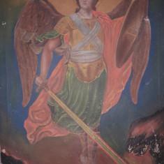 Icoana Veche Pictata Pe Panza Sf.Mihail Cu Sabia De Foc