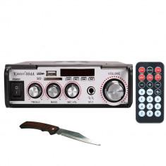 Amplificator digital tip Statie 2x10 W telecomanda intrari USB SD intrare microfon briceag buzunar cadou