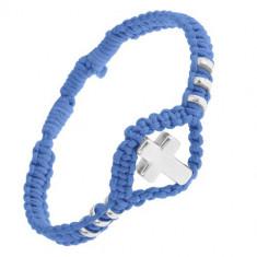 Brățară albastră împletită, cruce lucioasă din oțel și cercuri, ajustabilă