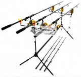 Kit  Crap 3 Lansete 3.3 m,Mulinete 9 rulm Rod Pod Full Cu Avertizori Si Swingeri
