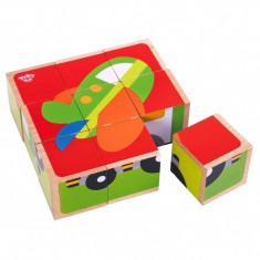 Puzzle cuburi lemn vehicule