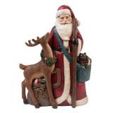 Figurina Mos Craciun cu Cerb polirasina rosu 22x8x31 cm