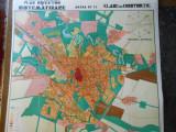 Harta Bucuresti 1934, litografie color, 80x90 cm, caserat, stare perfecta