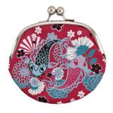 Portofel monede, imprimeu pesti, 14x14 cm, de dama, Multicolor