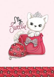 Lenjerie de pătuț copii Valentini Bianco VKB10/Tinny Cat