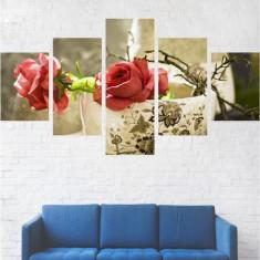 Set Tablouri Multicanvas 5 Piese, Flori, Trandafiri in cana - 110 x 200 cm (2 Piese 40x60 cm + 2 Piese 40x80 cm + 1 Piesa 40x110 cm)