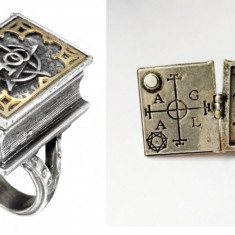 INEDIT!Inel gotic/rocker caseta BIBLIE locas poza/poison ring/Locket/PENTAGRAMA