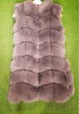 Vestă blană vulpe gri argintiu