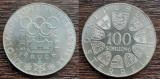 (A43) MONEDA DIN ARGINT AUSTRIA - 100 SCHILLING 1976,JOCURILE OLIMPICE INNSBRUCK, Europa