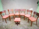 Set 6 scaune vechi, tapitate. + 1 taburet. (Scaun vechi de lemn tip Thonet)