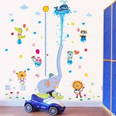 Sticker de perete camere copii Grafic de crestere cu animale masurator inaltime