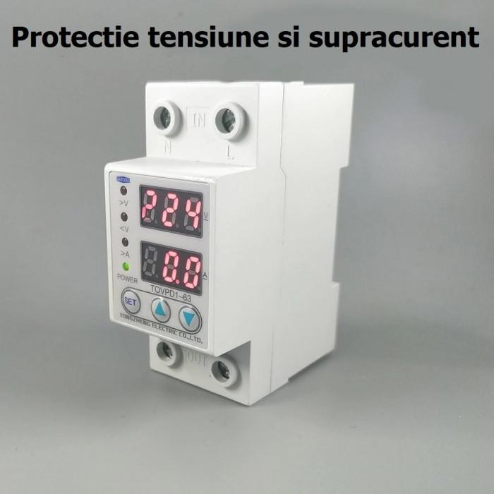 RELEU monofazic de PROTECTIE TENSIUNE supratensiune supracurent monofazat 220V