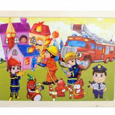 Puzzle din lemn cu pompieri in actiune - BARI42
