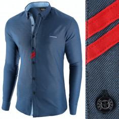 Camasa pentru barbati, bleumarin, slim fit, casual - Monument Pierre, L, M, S, XL, XXL, Maneca lunga