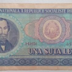 bancnota, bani vechi una suta lei N. Balcescu, seria H. banknote, bacnota
