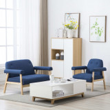 Set canapea de 3 persoane, 2 piese, material textil, albastru, vidaXL
