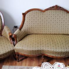 Mobila veche Biedermeier originala, canapea si fotoliu