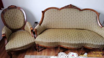 Mobila veche Biedermeier originala, canapea si fotoliu foto