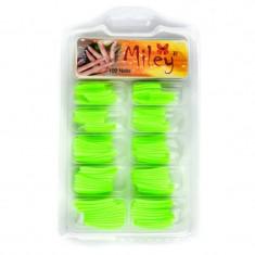 Tipsuri pentru manichiura colorate, 100 bucati, verde