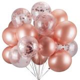 Buchet 10 baloane latex cu confetti Magic Gold 12 inch