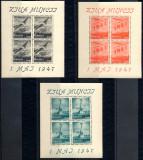 1947 LP218a serie 1 Mai Ziua Muncii (bloc de 4) MNH