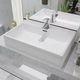 Cumpara ieftin Chiuvetă cu orificiu robinet, ceramică 60,5x42,5x14,5 cm, alb