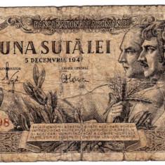 Bancnota 100 lei 5 decembrie 1947  uzata (2)