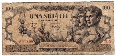 Bancnota 100 lei 5 decembrie 1947  uzata (2) foto