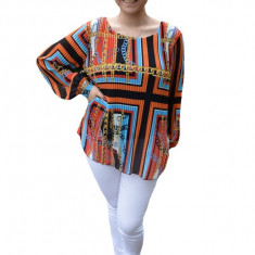 Bluza vaporoasa plisata Ella ,imprimeu chains ,nuanta de multicolor