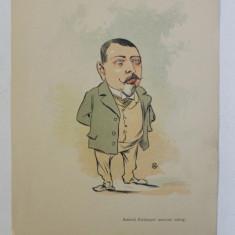 KIRITOPOL , ' AMICUL KIRITOPOL ANCIENNE SATRAP ' , CARICATURA , LITOGRAFIE de pictorul NICOLAE PETRESCU - GAINA 1871 - 1931 , 1898