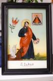 Sfantul Lukas Evangelist Pictura Icoana veche pe sticla Austria