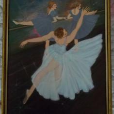 Tablou unicat Repetitia balerinelor, cu rama noua din lemn, Portrete, Acrilic, Altul