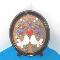 Placheta basorelief ceramica emailata - Turturele - semnata Ingegard, GABRIEL