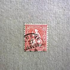 Elvetia, Helvetia sezand, cifra in 4 colturi 1862, 30c