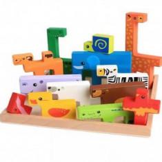 Puzzle lemn stil Tetris