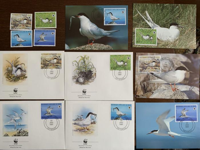 benin - pasari - serie 4 timbre MNH, 4 FDC, 4 maxime, fauna wwf
