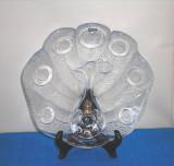 Cumpara ieftin Platou cristal mould-blown - Peacock - design Lars Hellsten, Orrefors, Suedia