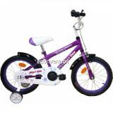 Bicicleta Copii 4-6 Ani, cu Roti Ajutatoare, Jolly Kids IBY16 BIC16 Mov, V-brake