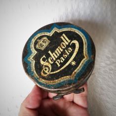 Cutie veche din tabla Schmoll, cutie reclama perioada regalista