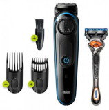 Aparat tuns barba Braun BT3240, 39 setari de lungime, 0.5 – 20 mm, Autonomie 80 min + Aparat de ras Gillette Fusion5 ProGlide (Negru/Albastru)