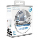 Set 2 Becuri auto far halogen Philips H7 White Vision, 12V, 55W ManiaCars