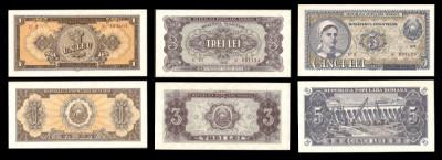 Bancnote, bani vechi, Romania 1, 3, 5 lei 1952 -UNC Serie Rosie foto