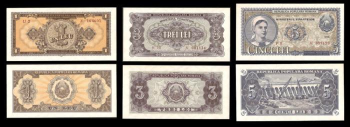 Bancnote, bani vechi, Romania 1, 3, 5 lei 1952 -UNC Serie Rosie