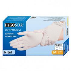 Manusi nitril Safe Premium marimea M, albe, 100 bucati/cutie, nepudrate